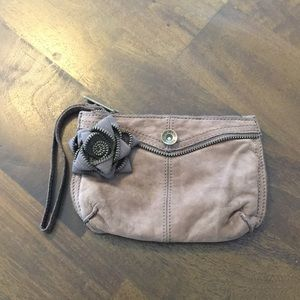 Gap Leather Wristlet with Zipper Flower Detail